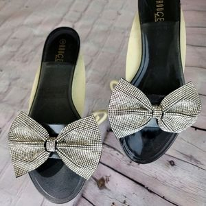 ROUGE sparkle bow tie jelly slides